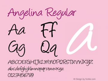 Angelina Regular Altsys Fontographer 4.0 1/20/95 Font Sample