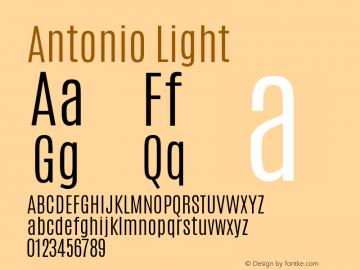 Antonio Light Version 1 ; ttfautohint (v0. Font Sample