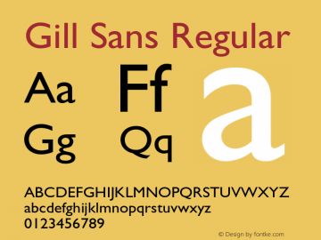 Gill Sans Regular 001.003 Font Sample