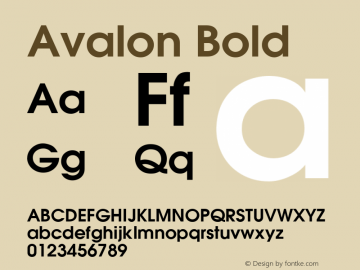 Avalon Bold v1.0c Font Sample