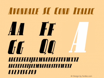 Avondale SC Cond Italic Version 1.0; 2001; initial release Font Sample