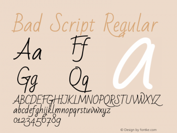 Bad Script Regular Version 1.003图片样张