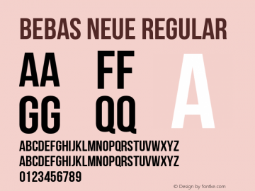 Bebas Neue Regular Version 1.002 Font Sample