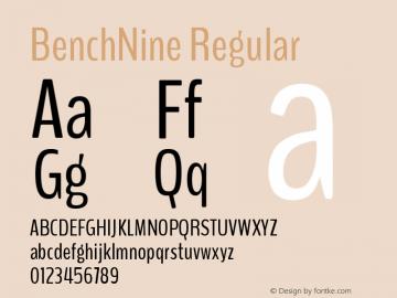 BenchNine Regular Version 1 ; ttfautohint (v0. Font Sample