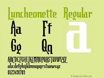 Luncheonette Regular Altsys Fontographer 4.0.2 11/3/96 Font Sample