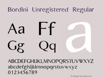Bordini (Unregistered) Regular Macromedia Fontographer 4.1.4 6/22/97图片样张