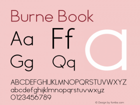 Burne Book Version 1.00 2013 Font Sample