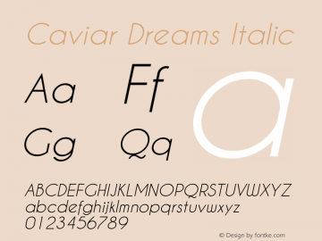 Caviar Dreams Italic Version 2.00 January 17, 2010 Font Sample