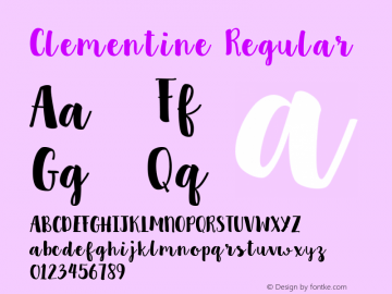 Clementine Regular Version 1.0 Font Sample