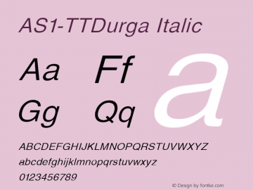 AS1-TTDurga Italic 1.0 Thu Nov 02 10:11:18 1995图片样张