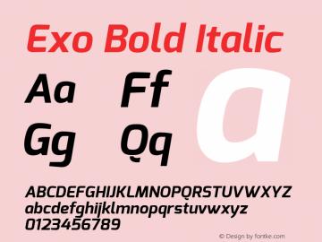 Exo Bold Italic Version 1.00 Font Sample