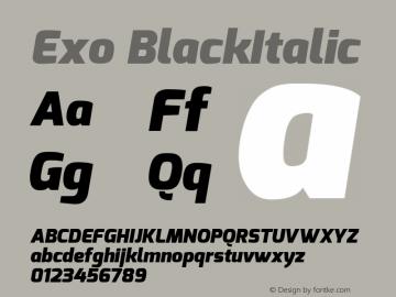 Exo BlackItalic Version 1.00 Font Sample