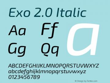 Exo 2.0 Italic Version 1.001;PS 001.001;hotconv 1.0.70;makeotf.lib2.5.58329 Font Sample