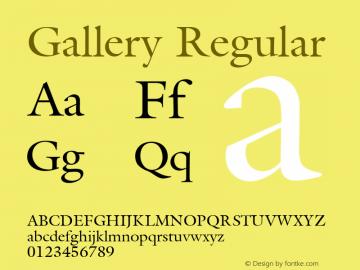 Gallery Regular Font Version 2.6; Converter Version 1.10 Font Sample
