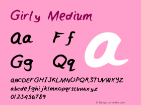 Girly Medium Version 001.000 Font Sample