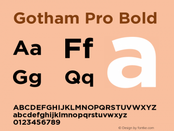 Gotham Pro Bold Version 1.001 Font Sample
