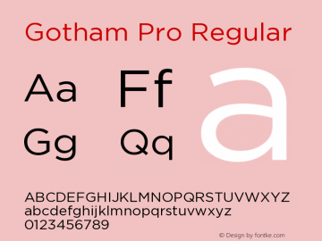 Gotham Pro Regular Version 1.001 Font Sample