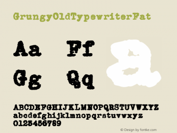 GrungyOldTypewriterFat ☞ Version 1.000;com.myfonts.easy.ridpath-creative.grungy-old-typewriter.fat.wfkit2.version.4o5s Font Sample