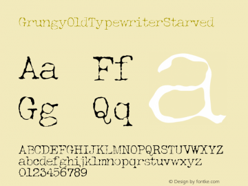GrungyOldTypewriterStarved ☞ Version 1.000;com.myfonts.easy.ridpath-creative.grungy-old-typewriter.starved.wfkit2.version.4o5t Font Sample