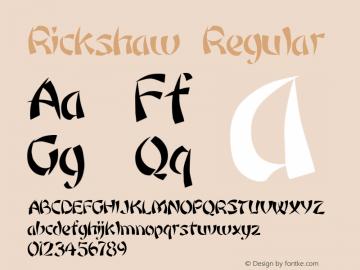 Rickshaw Regular Altsys Fontographer 3.5  3/17/92 Font Sample