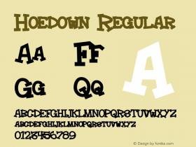 Hoedown Regular Macromedia Fontographer 4.1.3 3/17/02 Font Sample
