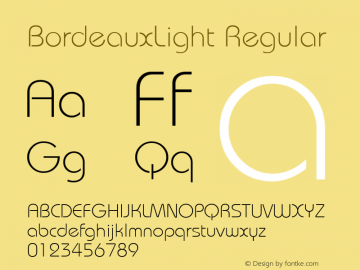 BordeauxLight Regular Macromedia Fontographer 4.1.5 5/17/98 Font Sample