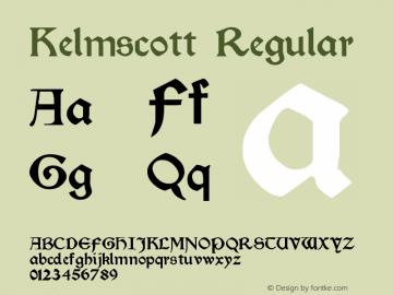 Kelmscott Regular Version Altsys Fontographer Font Sample