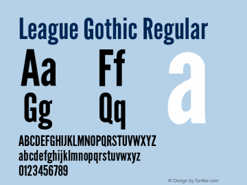 League Gothic Regular Version 001.001 Font Sample