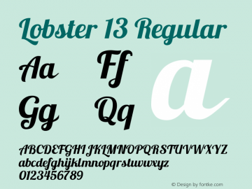 Lobster 13 Regular Version 1.003 2010 Font Sample