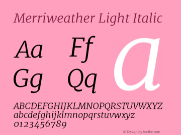 Merriweather Light Italic Version 1.001 Font Sample