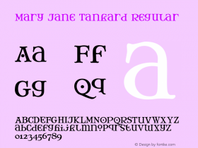 Mary Jane Tankard Regular 1.0 Font Sample