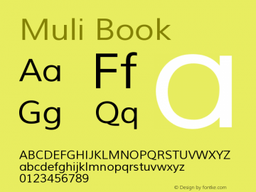 Muli Book Version 1.000 Font Sample