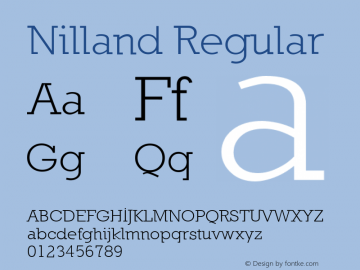 Nilland Regular 1.0 2005-03-11 Font Sample