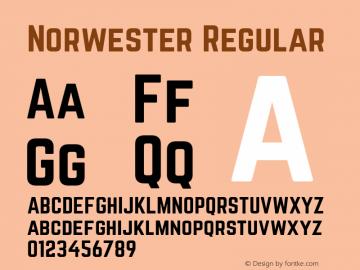 Norwester Regular Version 1.002;PS 001.002;hotconv 1.0.70;makeotf.lib2.5.58329 Font Sample