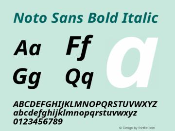 Noto Sans Bold Italic Version 1.04 Font Sample
