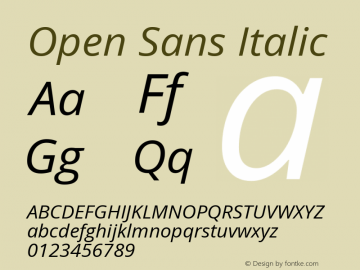 Open Sans Italic Version 1.10 Font Sample