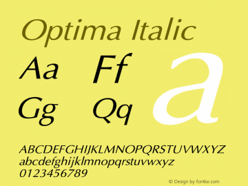 Optima Italic Converted from D:\FONTTEMP\OPTIMA-N.TF1 by ALLTYPE Font Sample