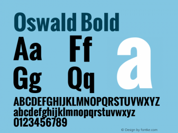Oswald Bold Version 1.000 Font Sample
