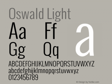 Oswald Light Version Font Sample
