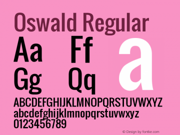 Oswald Regular Version 2.002; ttfautohint ( Font Sample
