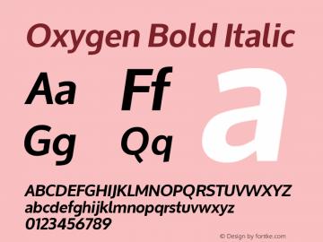 Oxygen Bold Italic Version 1.000 Font Sample