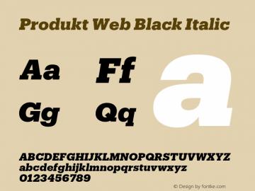 Produkt Web Black Italic Version 1.1 2014 Font Sample