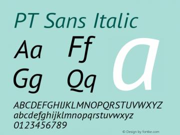 PT Sans Italic Version 2.003 Font Sample