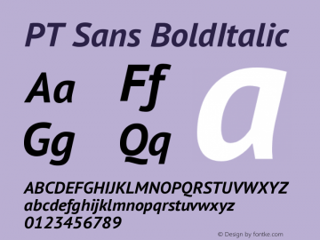 PT Sans BoldItalic Version 2.003W OFL Font Sample