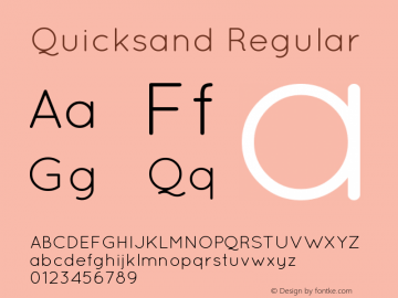 Quicksand Regular 1.002 Font Sample