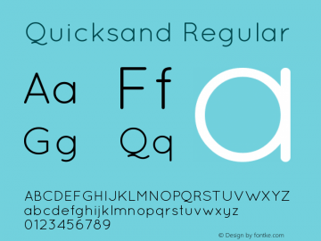 Quicksand Regular Version 001.001 Font Sample