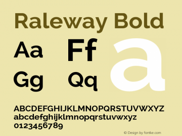 Raleway Bold Version 2.001; ttfautohint ( Font Sample