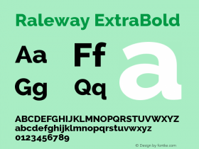 Raleway ExtraBold Version 2.001; ttfautohint ( Font Sample