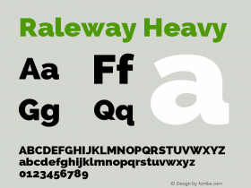Raleway Heavy Version 2.001; ttfautohint ( Font Sample