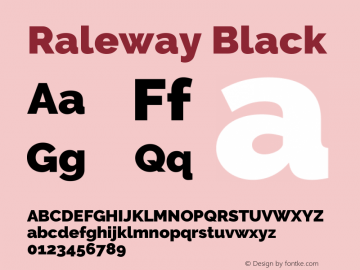 Raleway Black Version 3.000; ttfautohint (v0.96) -l 8 -r 28 -G 28 -x 14 -w